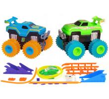 Машинки на бат. Trix Trux набор 2 машинки с трассой (синий+зеленый)